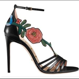 Gucci Ophelia Black Leather Floral Heel
